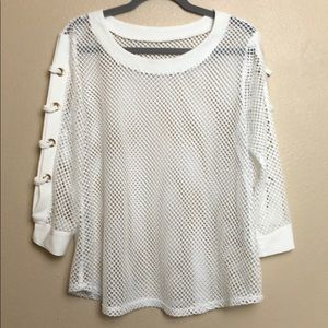 White Mesh Top with Lace Up Sleeve Detail Sz:L